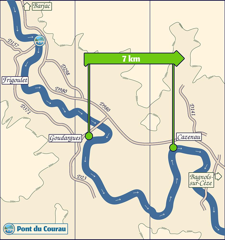 Carte de la descente de la Cèze de Goudargues à Cazernau