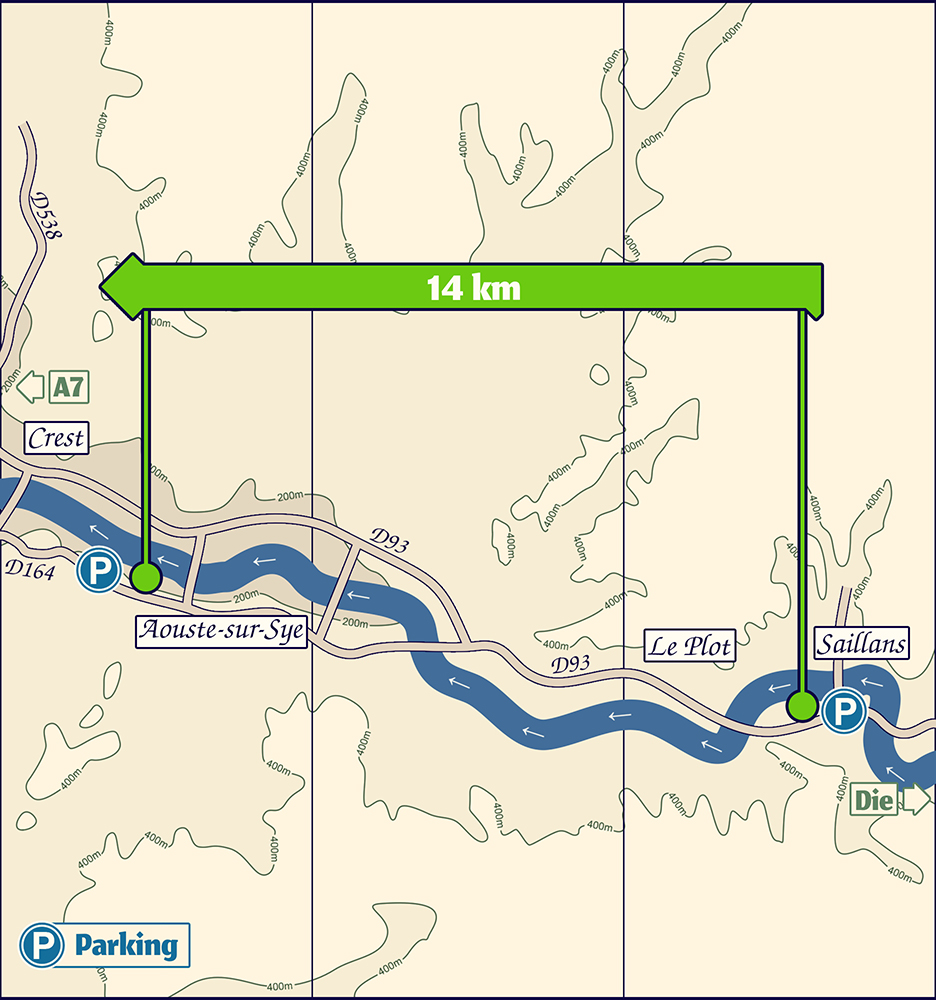 Plan de la descente en canoë Kayak, de Saillans à Aouste sur Sye.