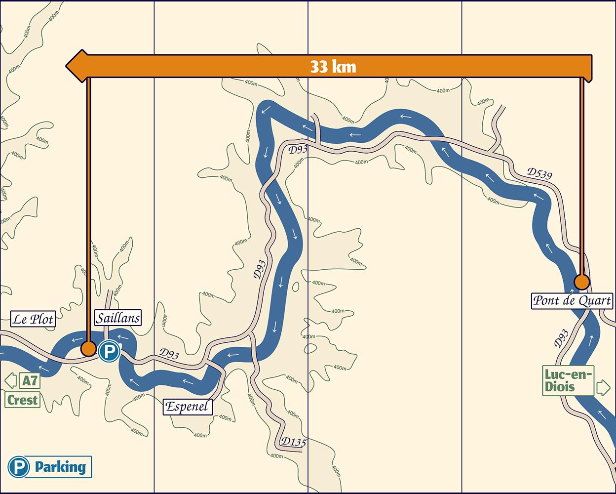 Plan de la Descente de la Drôme en Canoë Kayak de Pont de Quart à Saillans