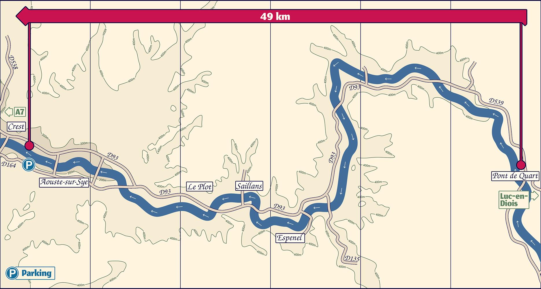 Plan de la descente de la Drôme de Pont de Quart à Crest