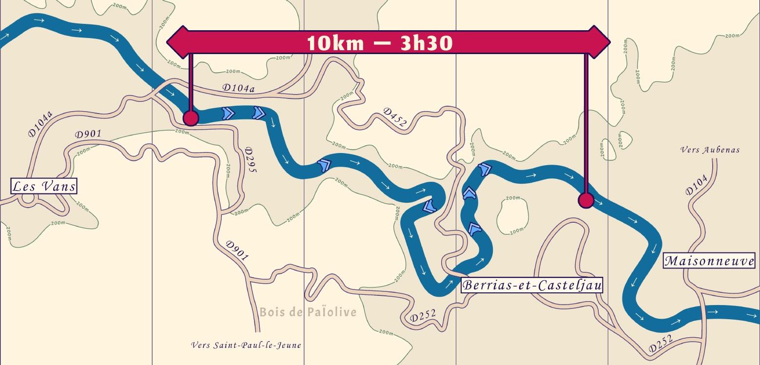 Carte de la descente du Chassezac entre les Vans et Chaulet plage