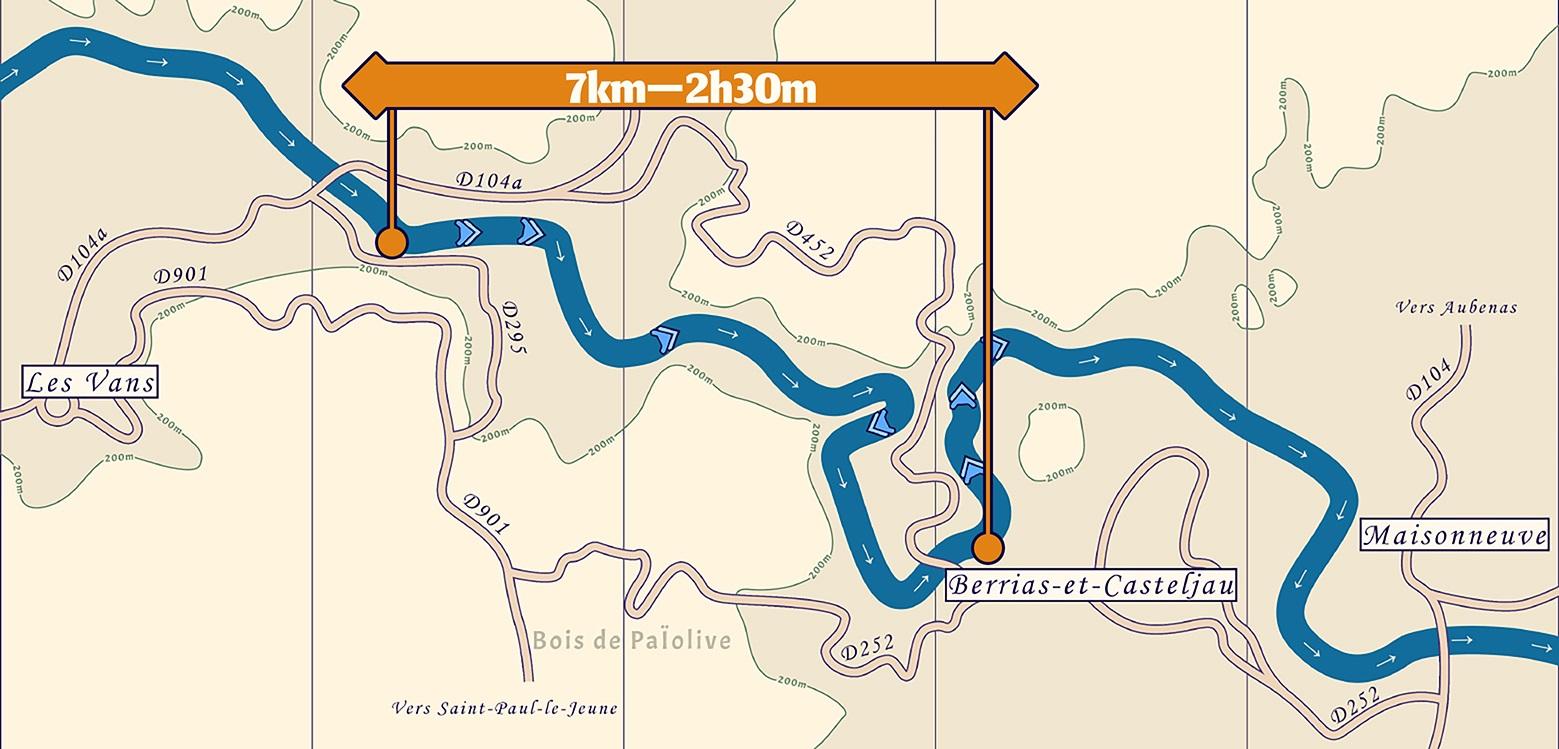 Carte de la descente en Canoë Kayak du Chassezac entre les Vans et Mazet