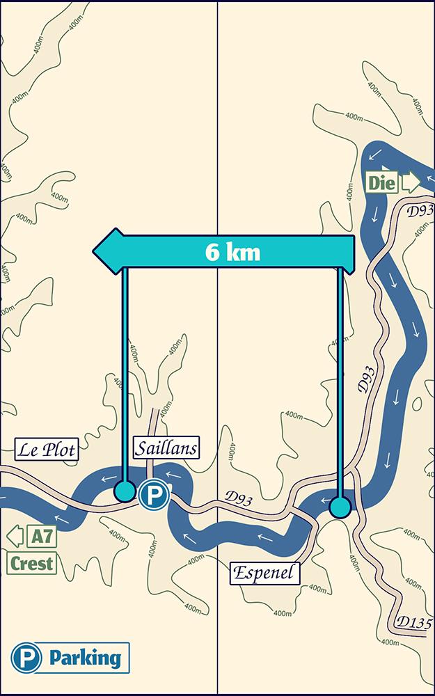 Plan de la descente en canoë kayak de la Drôme entre Espenel et Saillans
